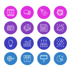 Vector Illustration Of 16 Marketing Icons. Editable Pack Of Lamp, Tactical Plan, Shop And Other Elements.