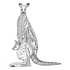 Kangaroo mother and baby joey in pouch zentangle stylized. Vector, illustration, pattern. Zen art. Black and white illustration on white background. Adult anti-stress coloring book.
