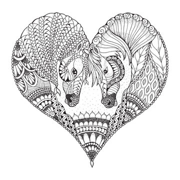 Two horses showing affection in a heart shape. Zentangle and stippled stylized vector illustration. Pattern. Black and white illustration on white background. Adult anti-stress coloring book.