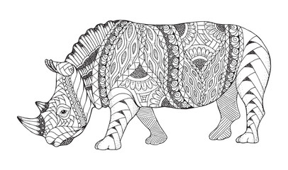 Rhino animal zentangle stylized. Rhinoceros vector, illustration, pattern. Zen art. Black and white illustration on white background. Adult anti-stress coloring book.