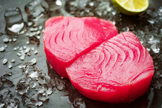 Raw steak of tuna yellowfin fillets