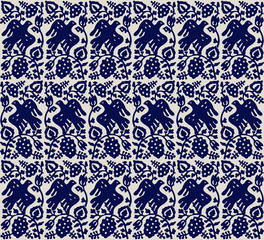 Traditional block printed ornament. Seamless floral pattern, handmade Russian folk motif with birds and vine. Blue on ecru background Textile print.