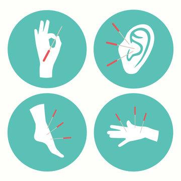 acupuncture health therapy icon, medicine alternative vector logo illustration,