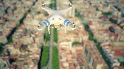 Aerial view of drone flying above the city blocks, shallow focus. 3D rendering