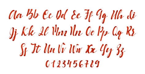 Latin alphabet red. Letter font style ribbon