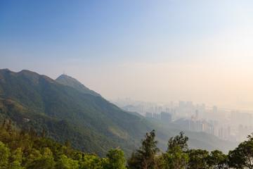 Hong kong tall buildings in haze