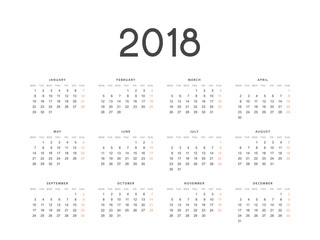 European calendar is a simple template for 2018.