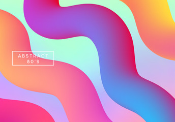 Retro holographic background, cover. Backdrop colorful gradient. Hipster style 80s