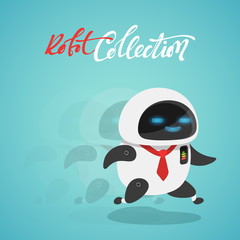 Character cute in flat style. High-speed Funny cartoon robot.