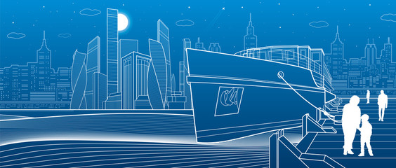 Ship on the river. People are walking on the pier. Modern city in the background. White lines infrastructure illustration. Vector design art