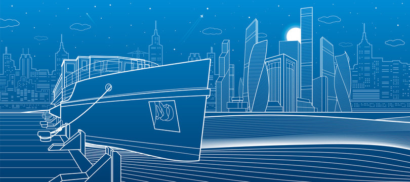 Ship on the river. Modern city in the background. White lines infrastructure illustration. Vector design art