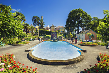 Portmeirion Fountain at Central Piazza in North Wales, UK