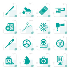 Stylized Medicine and hospital equipment icons - vector icon set