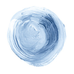 Blue textured acrylic circle. Watercolour stain on white background.