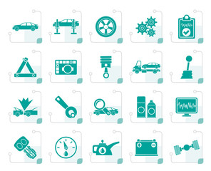 Stylized car services and transportation icons - vector icon set