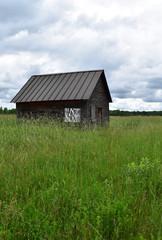 Abandoned cabin in a grassy field