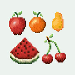 color pixelated set collection fruits icons vector illustration