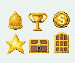 color pixelated set of golden elements arcade game vector illustration