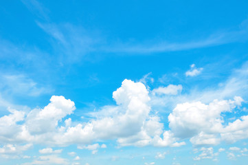 Beautiful bright summer blue sky and clouds