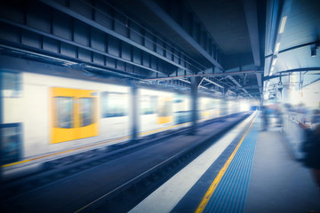 Blurred subway car