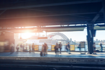 Foto op Canvas Treinstation Sydney subway platform