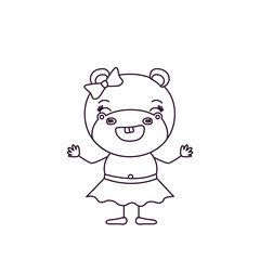 sketch silhouette caricature of smile expression female hippo in skirt with bow lace vector illustration