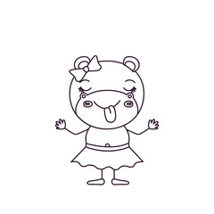 sketch silhouette caricature of female hippo in skirt with bow lace and sticking out tongue expression vector illustration
