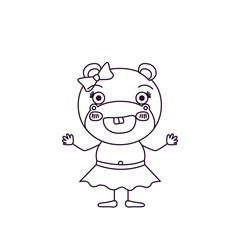 sketch silhouette caricature of female hippo in skirt with bow lace and excited expression vector illustration