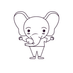sketch silhouette caricature of cute elephant happiness expression in clothes vector illustration