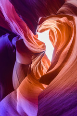 Fototapeten Schlucht Lower Antelope Canyon - located on Navajo land near Page, Arizona, USA - beautiful colored rock formation in slot canyon in the American Southwest