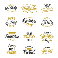 Happy Friendship Day cute hand written lettering big set