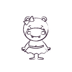 blurred silhouette caricature of cute expression female hippo in skirt with bow lace vector illustration