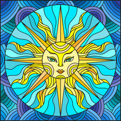 Illustration in the style of a stained glass window abstract sun