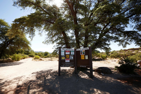Forest service kiosk gives information at the Oak Flat Campground near Superior, Arizona