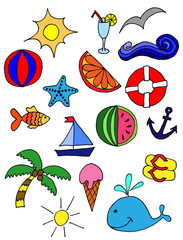 Cute pattern with summer symbols. hand-drawn illustration