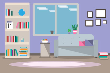 Illustration interior living room with furniture, window, sofa, wardrobe, books, shelves, carpet, flat style against a blue wall background