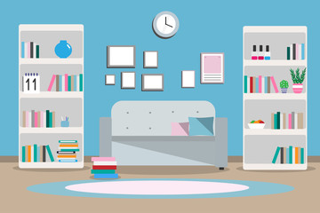 Illustration interior living room with furniture, sofa, wardrobe, books, two shelves, carpet, flat style against a blue wall background