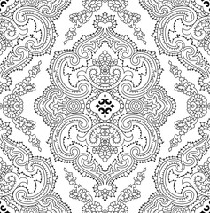Abstract vector decorative ethnic mandala black and white seamless pattern