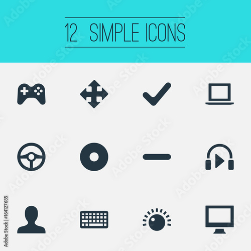 Vector Illustration Set Of Simple Game Icons  Elements Minus