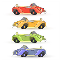 Vector set of  colorful Toy Cars isolated on white background.