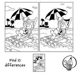 Cute fat cat in a deckchair floats by sea on a raft with umbrella. Find 10 differences. Educational game for children. Black and white cartoon vector illustration