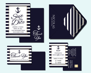 Set of Nautical Wedding Invitation Card and Marine banners. Elegant templates in white and navy blue colors. Vector/Illustration