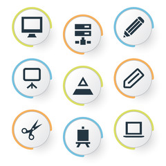 Vector Illustration Set Of Simple Designicons Icons. Elements Tag, Pen, Display And Other Synonyms Appliance, Painting And Trim.