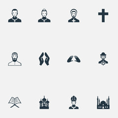 Vector Illustration Set Of Simple Faith Icons. Elements Muslim, Pontiff, Chapel And Other Synonyms Pastor, Kohen And Clergy.
