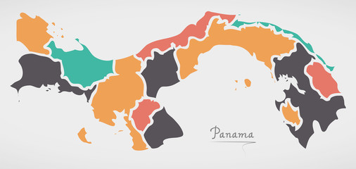 Panama Map with states and modern round shapes
