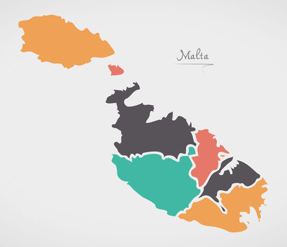 Malta Map with states and modern round shapes