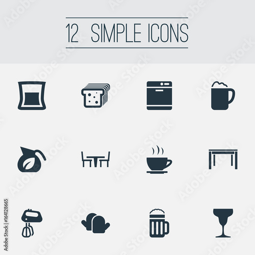 Vector Illustration Set Of Simple Cuisine Icons Elements Stir Oven