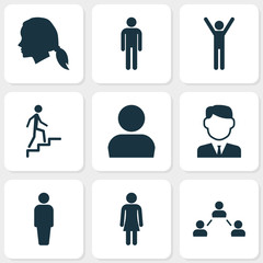 Human Icons Set. Collection Of User, Network, Gentleman And Other Elements. Also Includes Symbols Such As Member, Social, Female.