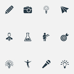 Vector Illustration Set Of Simple Visual Art Icons. Elements Interview, Hobby, Accuracy And Other Synonyms Message, Centre And Pen.