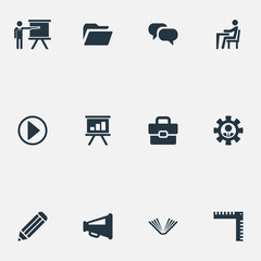 Vector Illustration Set Of Simple Conference Icons. Elements Team Leader, Announcement, Presentation And Other Synonyms Businessman, Engineer And Speaker.